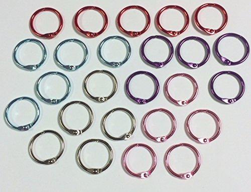 Heftringe Mix, Aufklappbare Ringe fürs Sammelalbum und Handwerken, 19 mm, 25 Stück