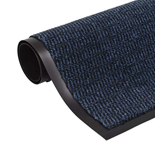 vidaXL Droogloopmat Rechthoekig Getuft 120x180 cm Blauw Deurmat Schoonloopmat