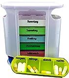 M&H-24 Tablettenboxen  für 7 Tage - Pillendose 4 Fächer Morgens Mittags Abends Nachts