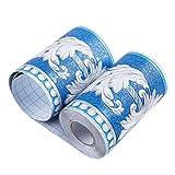 Bonito borde de papel pintado para decoración de techo, diseño floral, color azul y blanco, para baño, sala de estar, cocina, 10 cm por 5 metros