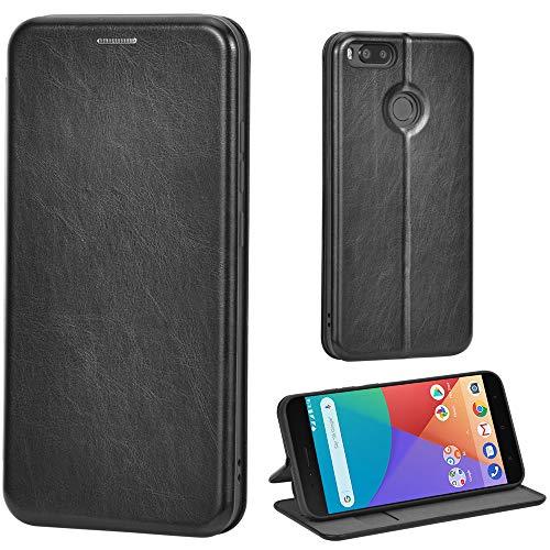 Leaum Leder Handyhülle für Xiaomi Mi A1 Hülle, Premium Handytasche Flip Schutzhülle für Xiaomi Mi A1 Tasche, Schwarz