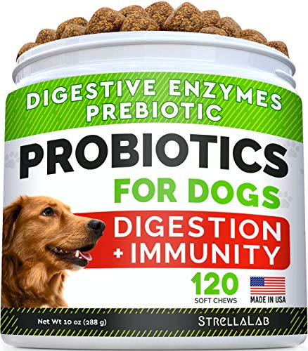 Dog Probiotics Treats for Picky Eaters - Digestive Enzymes + Prebiotics - Chewable Fiber Supplement - Allergy, Diarrhea, Gas, Constipation, Upset Stomach Relief - Improve Digestion, Immunity