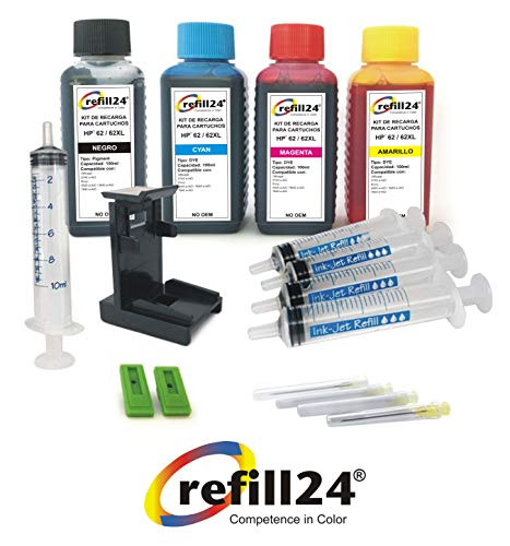 Kit de Recarga para Cartuchos de Tinta HP 62+ 62 XL Negro y Color, Incluye Clip y Accesorios + 400 ML Tinta