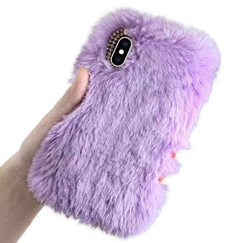 Plüsch Hülle für Huawei P40, LCHDA Niedlich Flauschige Künstlich Kaninchen Haar Telefonkasten Süße Winter Warm Weich Hase Pelz Handytasche Stoßfest TPU Silikon Schutzhülle - Violett