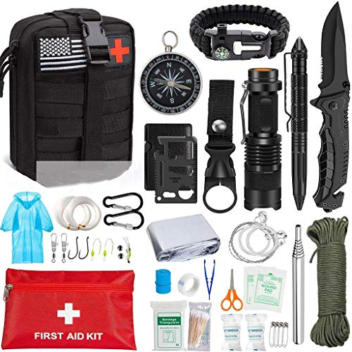 XLanY Überleben Tactical Gang Notüberlebens Kits, Für Mann Erste-Hilfe-Survival-Kits Tactical Beutel Für Outdoor-Abenteuer-Rucksack Kit Militär Wandern Jagd Camping
