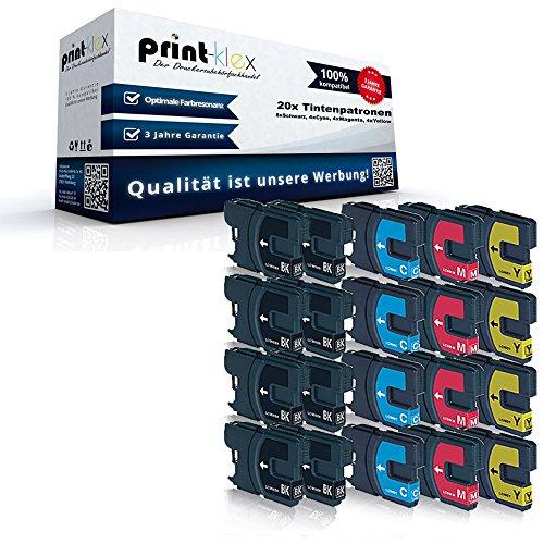 20x XL Tintenpatronen Sparset für Brother DCP145 C DCP163 C DCP165 C DCP167 C DCP195 C DCP197 C LC980BK LC980C LC980M LC980Y - 8x Black, 4x Cyan, 4x Magenta, 4x Yellow