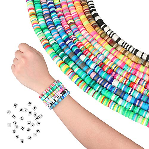 10 Strands 6mm Clay Beads Vinyl Heishi Chip Disk Beads Flat Round Loose Multicolor Handmade 3200 pcs Polymer Spacer Bead Bulk for DIY Bracelet Necklace Anklet Jewelry Making Supplies
