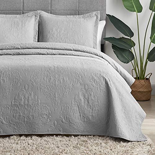 Hansleep Gesteppte Tagesdecke für Doppelbett, 220 x 240 cm, 3 Stück, Grau mit Ultraschall-Prägung, gebürstete Mikrofaser, mit 2 Kissenbezügen, 50 x 75 cm, für alle Jahreszeiten