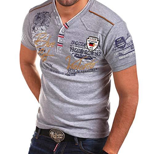 AmyGline Herren T Shirt Top Neu-Männer Frühling Sommer Casual Persönlichkeit Knöpfen Brief Druck Kurzarm T-Shirt Hemd Poloshirt Kurzarmshirt Sweatshirt Pullover Poloshirt Hemd