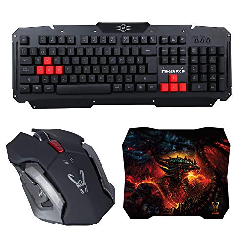 Woxter Stinger FX 95 W Kit - Kit Gaming inalámbrico Compuesto por Teclado Wireless Multimedia, ratón con resolución Ajustable (800, 1200, 1600 dpi) y Alfombrilla de 28x24cm