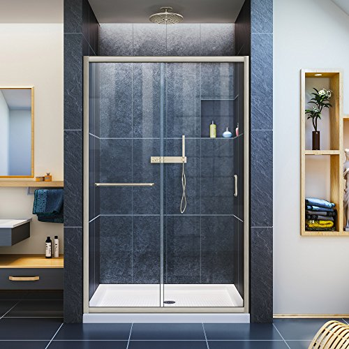 DreamLine Infinity-Z Semi-Frameless Sliding Shower Door | For openings from 44' up to 48' | Clear Glass in Brushed Nickel | SHDR-0948720-04