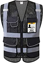JKSafety 9 Pockets Class 2 High Visibility Zipper Front Safety Vest With Reflective Strips,HQ Breathable Mesh, Oxford Fabric for pocket materials. Black Meets ANSI/ISEA Standards (XX-Large, Black)