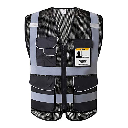 JKSafety 9 Pockets High Visibility Safety Vest With Reflective Strips Zipper Front,HQ Breathable...