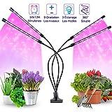 LED Lampe de Plante, 40W Lampe de Croissance de pour Les Plantes D'intérieur, Spectre Complet 80PCS LED avec Minuterie et 4 Têtes et 9 Niveaux de Gradation pour Les Semis en Croissance Floraison