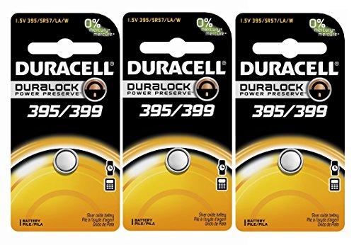 Duracell D395/399B Watch/Calculator Battery, 3 Pack