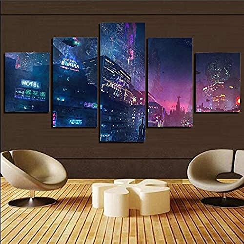 5 Piece Modern Artwork Futuristic Neon Lights Of The Cyberpunk City Hd Stretched And Framed Canvas Prints Pictures Paintings On Canvas Wall Art For Living Room Bedroom Decoration -Ready To Hang