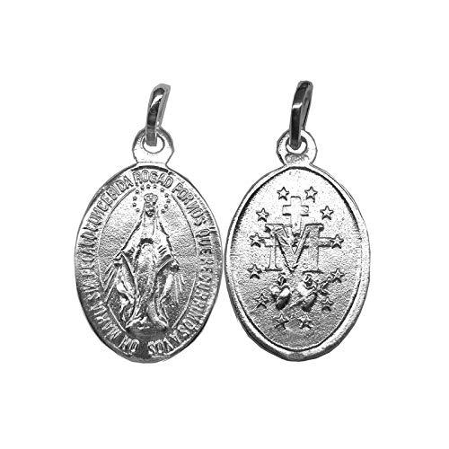 Medalla Colgante Virgen Milagrosa Plata Ley 925ml 20mm
