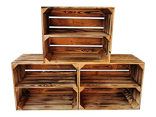 Teramico fruitkisten/wijnkisten/houten kisten 50 x 40 x 30 cm met tussenplanken -antraciet/wit/gevlamd - voor meubelbouw -massief en stabiel - 3 x Boden Lang gegolfd