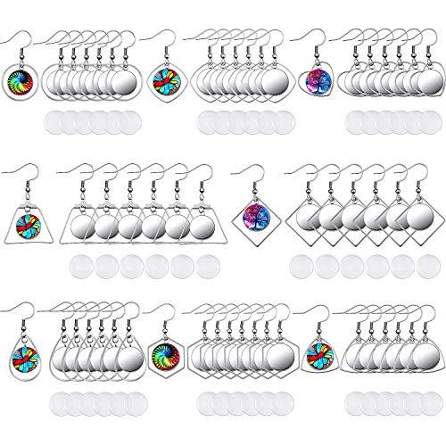 108 Piezas Pendiente de Acero Inoxidable Bandejas Engaste Ganchos Alambres en Blanco con 12 mm Engaste de Cabujones de Vidrio para Manualidades Bricolaje de Hacer Joyería