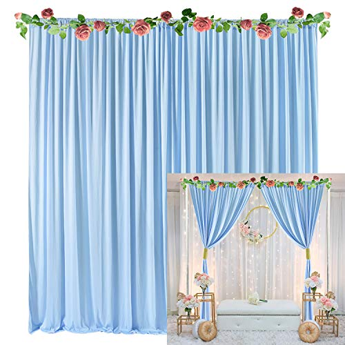 Baby Blue Backdrop Curtain for Baby Shower Weddings Parties Birthday Photography Fabric Drape Backdrop with Golden Curtain Tiebacks 5ft x...