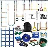 A&Q Ninja Rope Slackline Monkey Bar Kit Juego De Accesorios para Slackline para Niños Equipado con Los Accesorios Más Completos para Niños con Escalera De Cuerda, Red De Obstáculos