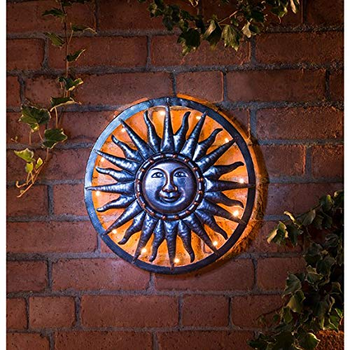 Z&Q BROS LTD Fabulous Garden Decoration Bronze Effect Solar Sun Metal Wall Art Lighting Oudoor