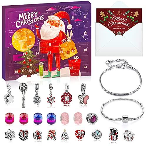SUPER YIICOO Christmas Advent Calendar 2021 for Girls, Xmas Countdown Calendar, 24 Days Christmas Bracelet Gift Set, DIY Bracelet Making Kit for Women Kids with 22 Charm Beads, 2 Bracelets (Purple)