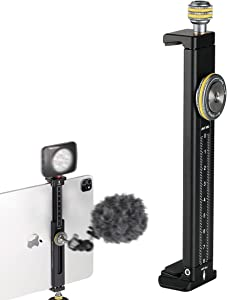 Aluminum iPad Holder for Tripod Mount, Universal Phone Tablet Clamp Tripod Adapter Bracket w Cold Shoe Mount 1/4 inch Screw and Acra Swiss Rail for iPad 4/Mini/Air/Pro/Surface Pro/iPhone/Galaxy Tab