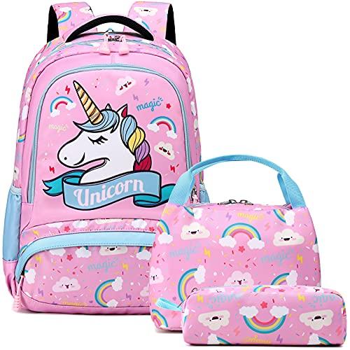 Mochila Unicornio Niños Impermeable Mochila Escolar para Adolescente Pequeñas Mochilas Infantil Bolso para Chicas para La Escuela,Viajes,Intemperie Juego de 3 - Rosado Azul