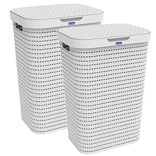 Rotho Country 2er-Set Wäschesammler 55l mit Deckel, Kunststoff (PP) BPA-frei, Weiss, 2x55l (42,0 x 32,2 x 57,7 cm), 42 x 32