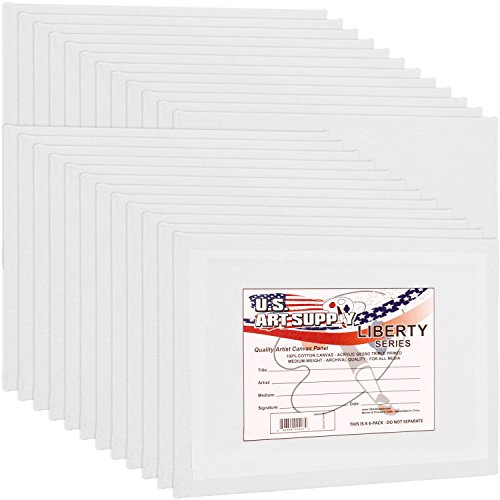 US Art Supply 24-Pack of 8 X 10 inch Professional Artist Quality Acid Free Canvas Panel Boards for Painting Value Pack of 24 (1 Full Case of 24 Single Canvas Board Panels)
