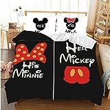 XZHYMJ Juego de sábanas 3D Disney Mickey y Minnie - 3 Piezas Mickey y Minnie Mouse Anime Impreso Niño Adulto Niños Funda nórdica Juego de Regalo para Adolescentes Niñas A06_Doble 200x200cm