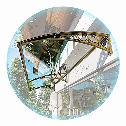 LIANGLIANG Vordach Haustür Überdachung, Polycarbonat Schalldämpfer Anti-Lärm, Stark und Robust Kurvendesign, Benutzt für Ganzes Gebäude Traufe Regenfahrt (Color : Transparent, Size : 300x60cm)