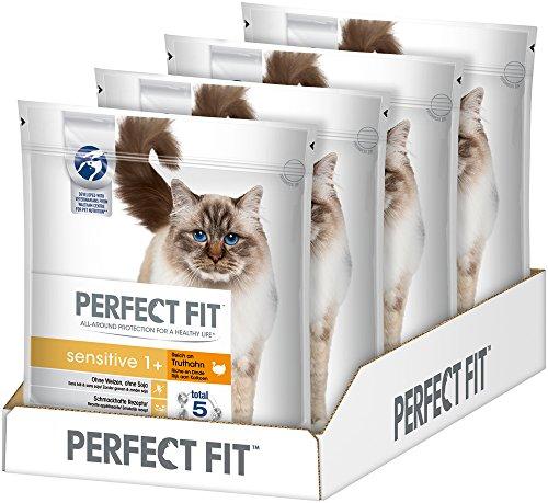 Perfect Fit Adult 1+ Sensitive Kattenvoer, Droge Voeding, zonder Tarwe en Soja, Optimale Spijsvertering, Kalkoen, 4 Zakken (4 x 1,4 kg)