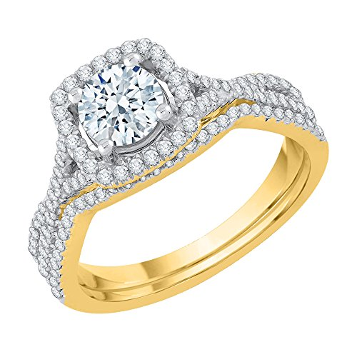 Katarina Diamond Halo - Juego de novia en oro amarillo de 14 quilates (1 quilate, J-K, SI2-I1) (tamaño 4)