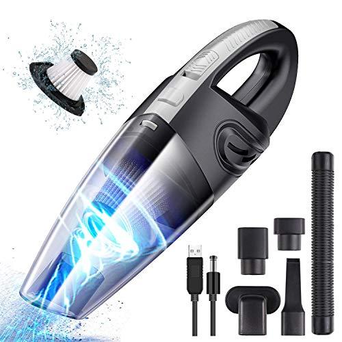 URAQT Aspiradora de Mano, 120W Aspirador Mano Sin Cable Potente, Carga Rápida USB Aspiradoras en Seco y Húmedo, Batería de 2200mAh, Filtro Lavable, Accesorio Completo para Oficina Hogar y Coche