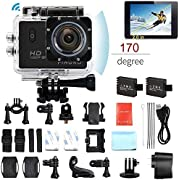 "Pingko F71 Sports Action Camera,WIFI Full HD 1080P 30fps 12MP 2.0"" LCD Screen 170 Degree Wide Angle Lens Underwater Diving Camera with 2pcs Batteries"
