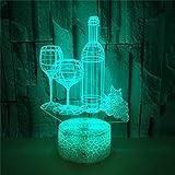 Set De Copas De Vino Luz Nocturna Infantil, Regalos De Navidad Y Cumpleaños Para Niños, 16 Colores Parpadea Lámpara De Noche De Ilusión Óptica 3D, Dormitorio Decoración Lámparas De Escritorio