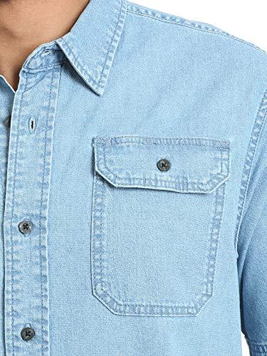 Men's Short Sleeve Stretch Button Down Shirt ( Light Wash Denim) 4