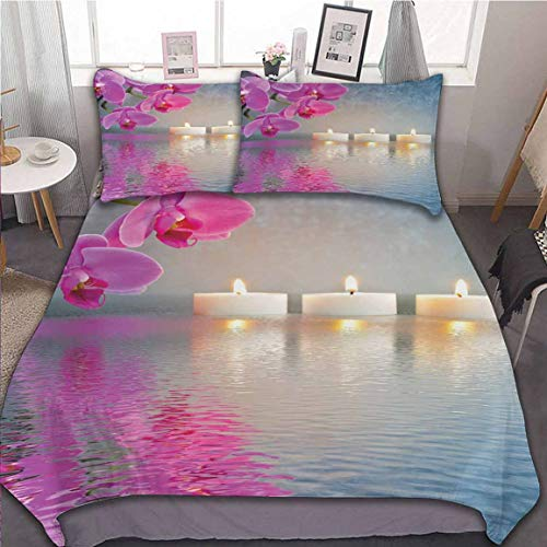 Oobon Bedding Duvet Cover Set, Japanese Candle Relaxing Environment Cherry Blossoms Asian Inspirations, with Zipper Closure&Corner Ties, 3pc (1 Duvet Cover+2 Pillow Shams), 68x86 inch