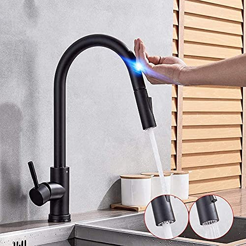 Grifo Accesorios De Cocina Con Sensor Accesorios Sensibles Inductivos Al Tacto Negro Grifo Mezclador Salida Doble De Una Mano Modos De AguaNegro