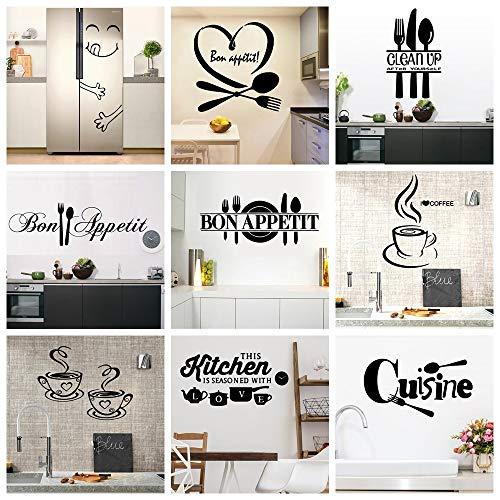 BLOUR 22 Stile Große Küche Wandaufkleber Home Decor Decals Vinyl Aufkleber für Hausdekoration Zubehör Wandbild Wallpaper Poster