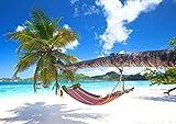 DFGJ Rompecabezas Playa Tropical con Palmeras y Hamaca 3000 Piezas (110 * 87 cm)
