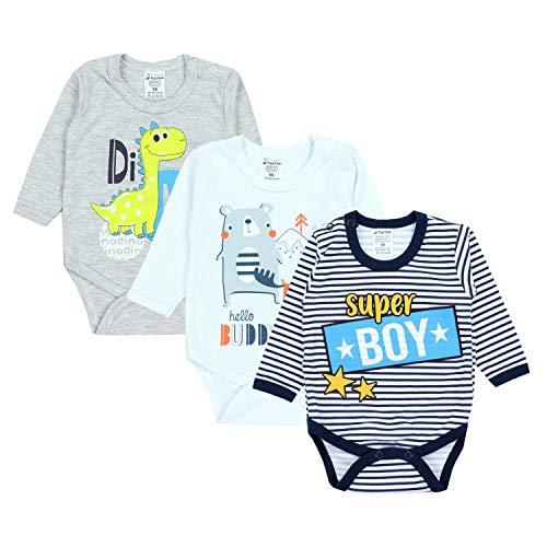 TupTam Baby Jungen Langarm Body mit Aufdruck Spruch 3er Pack, Farbe: Farbenmix 1, Größe: 74