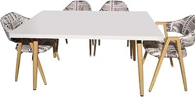Menzzo Table rectangulaire scandinave Nora Blanc