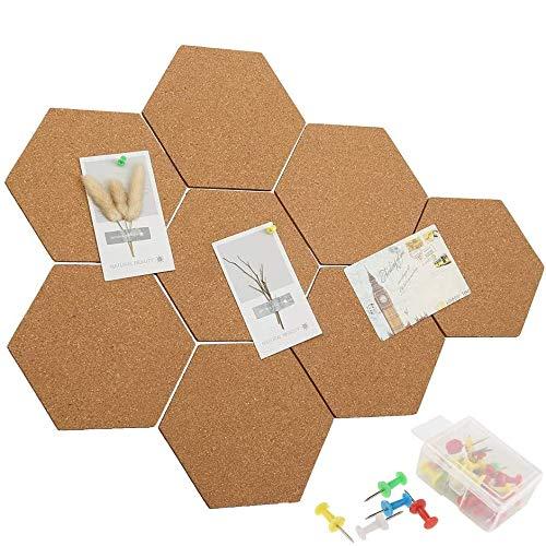 Pinnwand Kork 8 Stück Korkplatte Selbstklebend Korkwand Hexagon Cork Board mit 40 Stück Pinnnadeln für Foto hängen Heimdekoration Büro Memorandum Beachten Memo