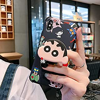 Gentra Cartoon 3D Crayon Shinchan Chibi Maruko Phone Case with Stand Bracket Holder for iPhone 11 Pro Max 7 8 Plus X XS MAX XR Back Cover (Black, for iphoneXS max)