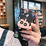 Gentra Cartoon 3D Crayon Shinchan Chibi Maruko Phone Case with Stand Bracket Holder for iPhone 11 Pro Max 7 8 Plus X XS MAX XR Back Cover (Black, for iphone11)