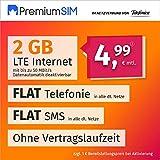 PremiumSIM Teléfono móvil LTE S – sin Tiempo de Contrato, (Flat Internet 2 GB LTE con máx. 50 Mbit/s con Datos automáticos desactivables, telefonía Flat, SMS y UE, 4,99 Euros/Mes)