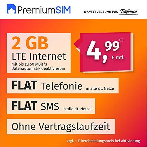 Handyvertrag PremiumSIM LTE S - ohne Vertragslaufzeit (FLAT Internet 2 GB LTE mit max. 50 MBit/s mit deaktivierbarer Datenautomatik, FLAT Telefonie, FLAT SMS und EU-Ausland, 4,99 Euro/Monat)